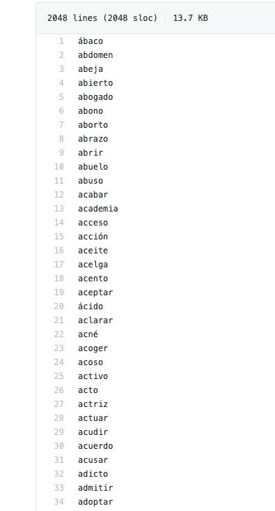 frases semilla listado de palabras
