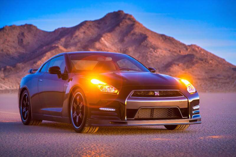 2014 Nissan GTR Track Edition at dusk