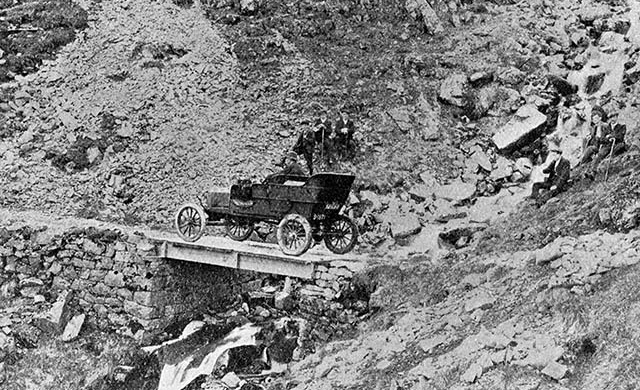 Forget celebrity-endorsed ads…driving a Model T Ford up a mountain is how real men sell cars