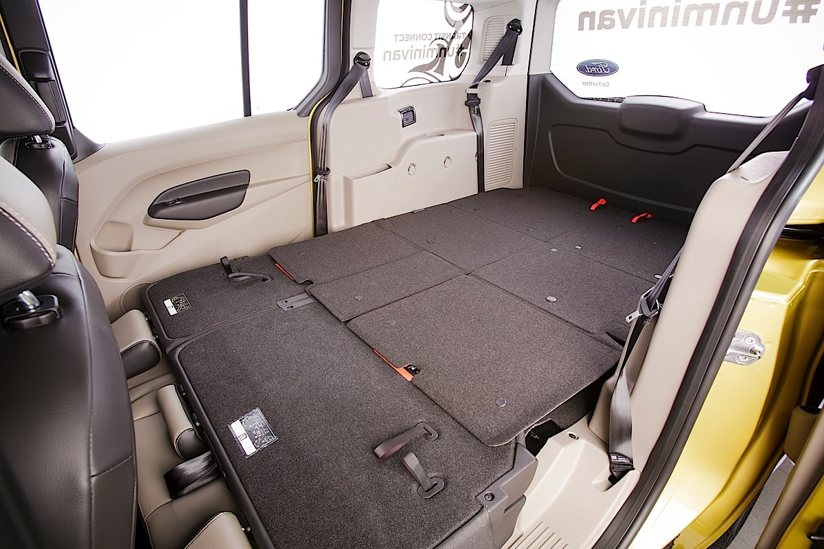Ford Transit Connect Wagon, interior seats down.