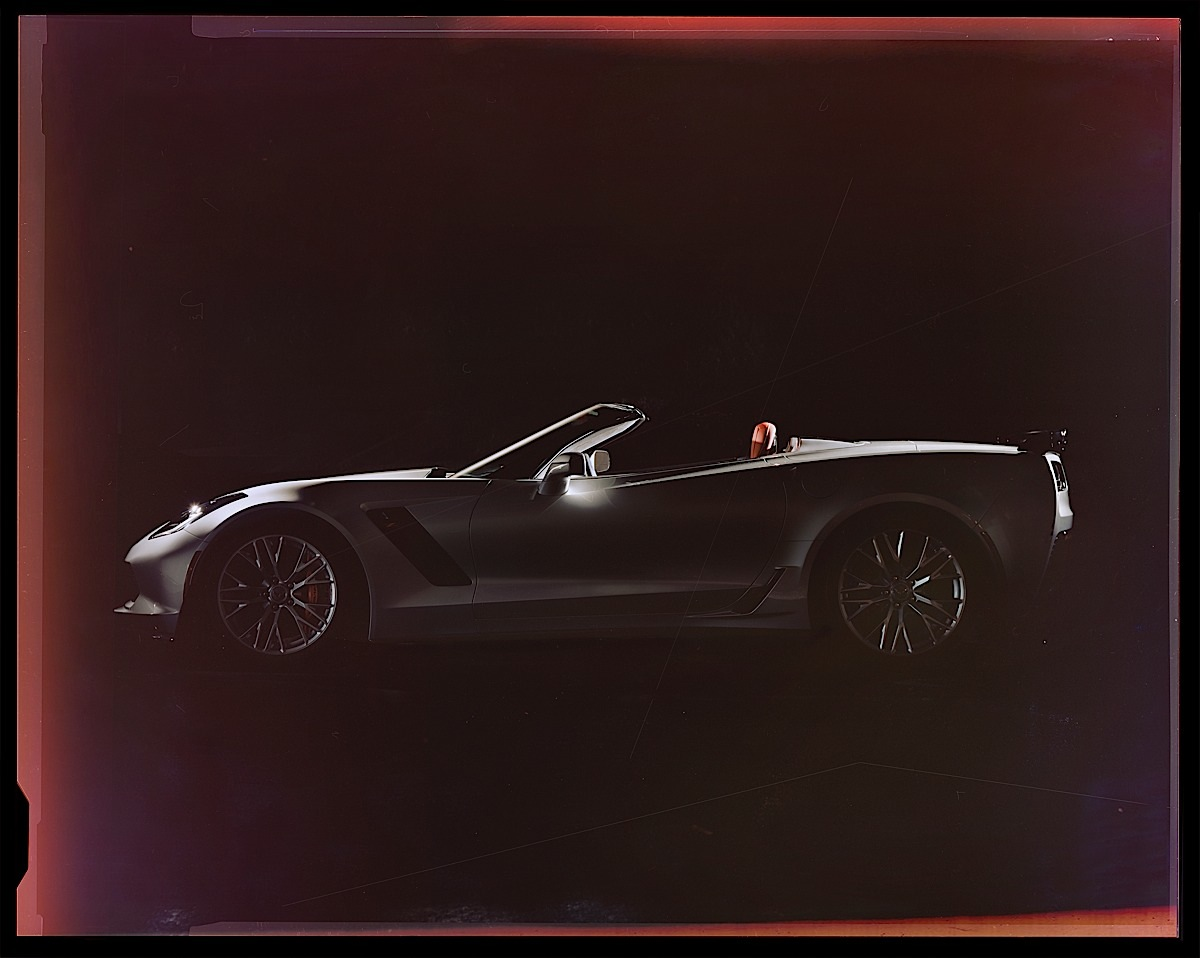 The 2015 Chevrolet Corvette Z06 Convertible, shot by Mike Finkelstein from Pratt Institute as part of a student-photography competition for the New York Auto Show. Finkelstein shot his images using traditional film, in order to bring an innovative, new look to the vehicle.