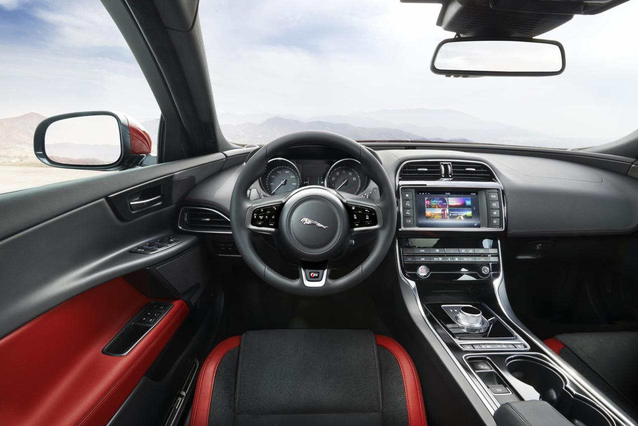 Jaguar XE S driver's seat and dash.