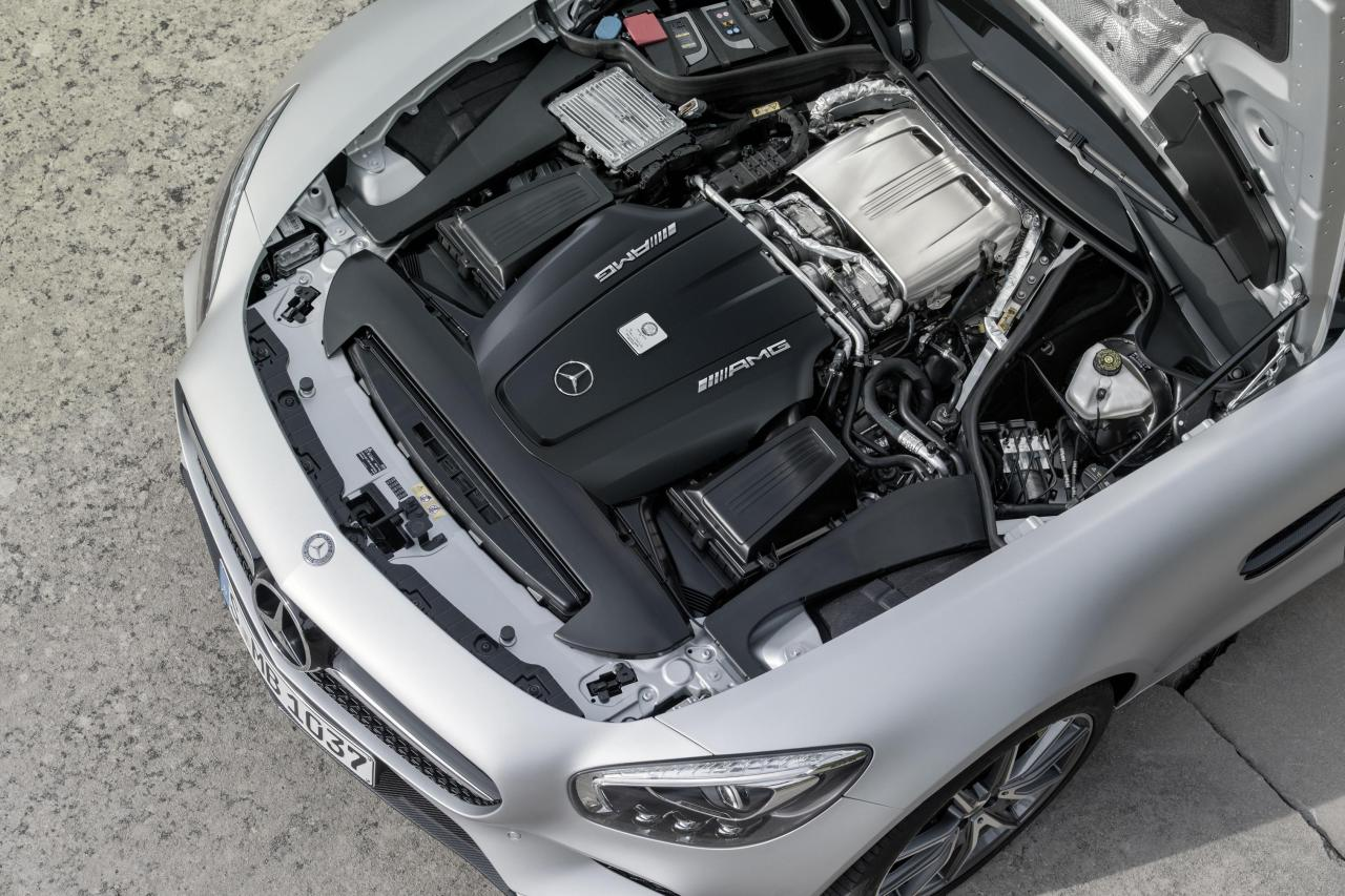 The AMG engine has internally mounted turbochargers ('hot inside V')
