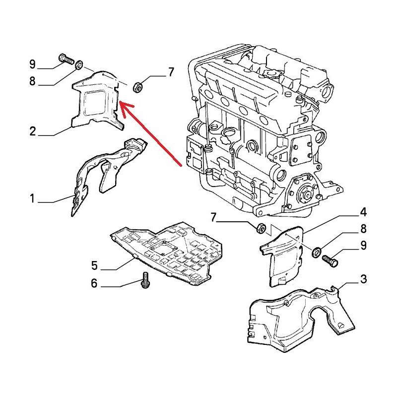Plaque laterale gauche de protection du moteurFiat Bravo 1