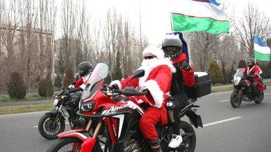 Новогодний Мото парад Дедов-морозов —байкеры и мото-подразделение УБДД прокатились по Ташкенту