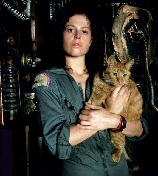 "Ripley from ""Alien"" with Jonesy the cat"