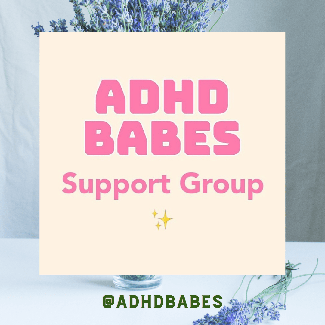 photo of word art that reads ADHD babes support group - next ADHD support group will be on Wednesday 9th December 6-8pm GMT! ✨✨ Open to Black women and non binary people. A formal diagnosis is not required to attend!