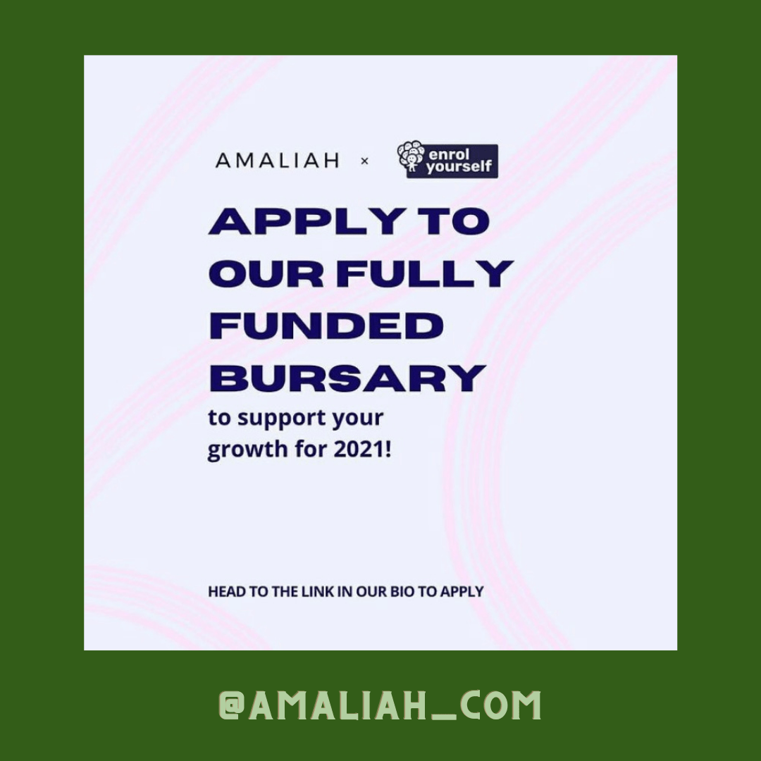 Are you growing an idea? A skillset? A new venture? A side hustle? Yourself? For this poll, we partnered with @enrol_yourself to bring you two fully-funded bursaries for 2021 so that you can invest in yourself. - To find out more and to apply, head over to the link https://www.amaliah.com/post/60734/2021-year-invest-amaliah-x-enrol-bursary to apply