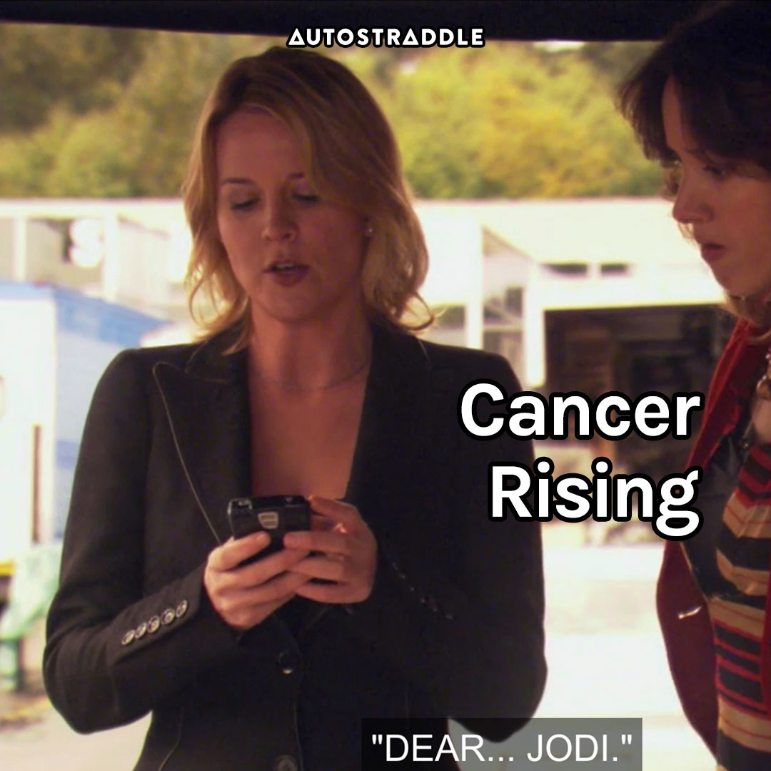 """Cancer Rising: Tina, texting with Bette looking on """"Dear… Jodi."""""""