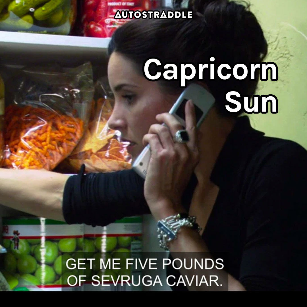 """Capricorn Sun: Helena in a pantry on the phone. """"Get me five pounds of sevruga caviar"""""""
