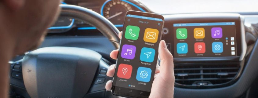 Smartphone connected to car infotainment system