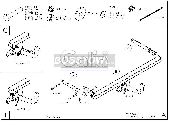 AHK PKW Ford B-Max 12- abnehmbar