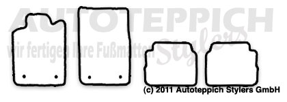 Auto-Fußmatten für Opel Vectra C Baujahr 2002-2008 4-teilig