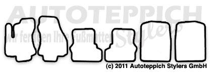 Auto-Fußmatten für Opel Zafira A Baujahr 1999-2005 6tlg