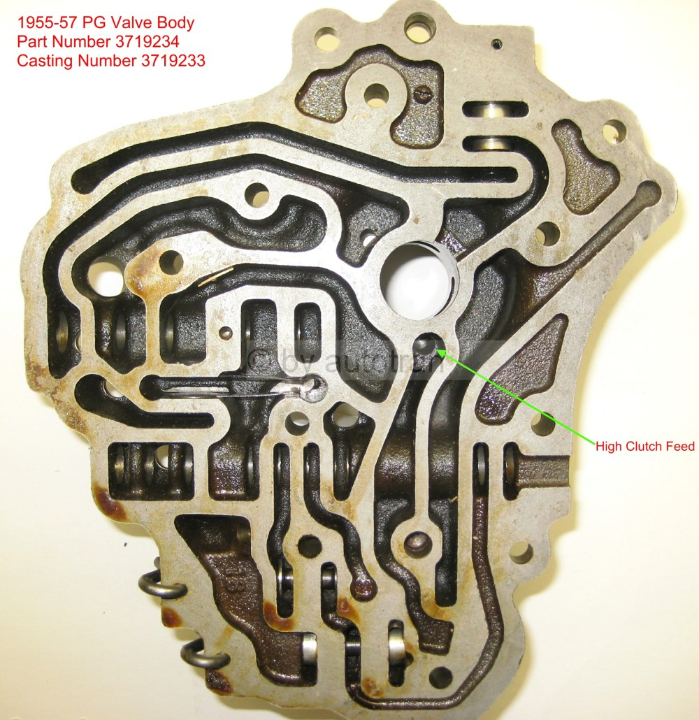 medium resolution of 1955 57 valve body back p n 3719234 casting 3719233