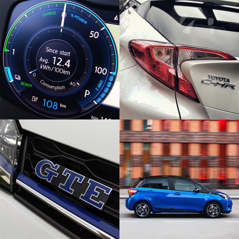 2017 Volkswagen e-Golf, 2017 Volkswagen Golf GTE, 2017 Toyota C-HR Hybrid, 2017 Toyota Yaris Hybrid quad