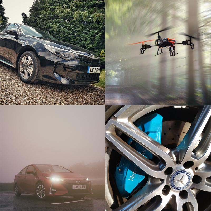 2017 Kia Optima PHEV, Drone Racing, 2017 Toyota Prius Plug-in, 2017 Mercedes E 350 e