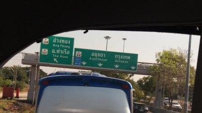 dans le bus vers Ayutthaya