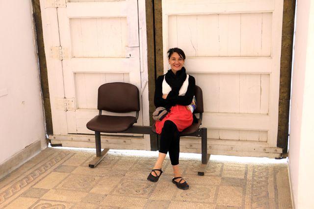 petite pause durant la visite du musée du Bardo