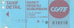 Ticket de bus de Nancy (1991)