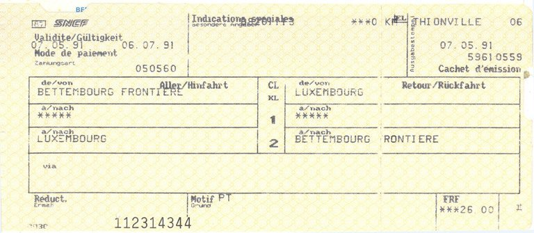 Ticket de train France vers Luxembourg (7 mai 1991)