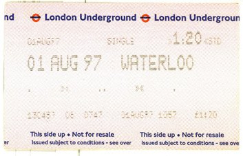 ticket de métro à Londres (RDV n°5 - Mes voyages avant...Internet...suite et fin)