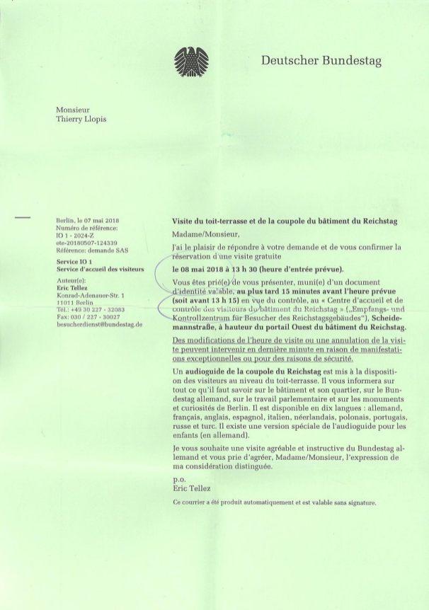 Lettre d'invitation à visiter le Bundestag (http://www.autre-ailleurs.fr)