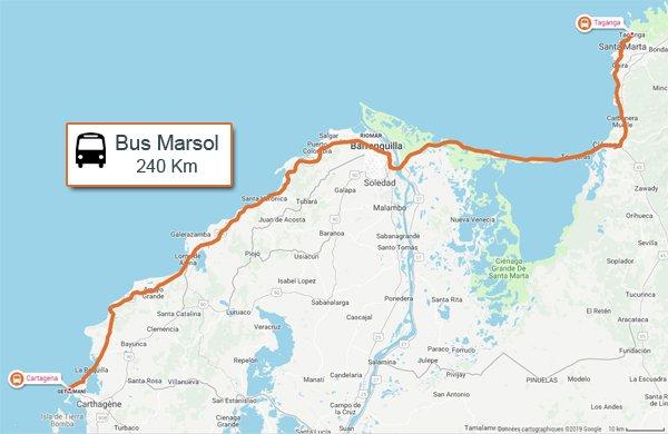 Trajet bus Marsol de Carthagène des Indes à Santa Marta - l'autre ailleurs en Colombie, une autre idée du voyage