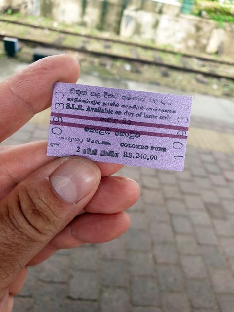 ticket de train de Galle vers Colombo - l'autre ailleurs au Sri-Lanka, une autre idée du voyage