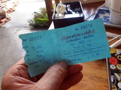 mon ticket de bus de Pak à Chiang Mai - l'autre ailleurs au Myanmar (Birmanie) et Thaïlande, une autre idée du voyage