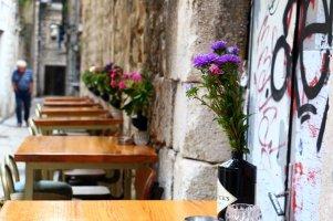 le vieille homme et les fleurs dans une rue du vieux Split - l'autre ailleurs en Croatie, une autre idée du voyage