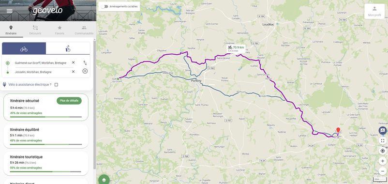 Le site Geovelo (crédit : https://www.geovelo.fr/france/) - l'autre ailleurs en Vélo, une autre idée du voyage (www.autre-ailleurs.fr)