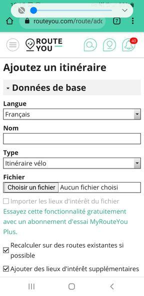 Import d'un fichier GPX dans Route You (https://www.routeyou.com/fr-fr/) - étape 3 - l'autre ailleurs en Vélo, une autre idée du voyage (www.autre-ailleurs.fr)
