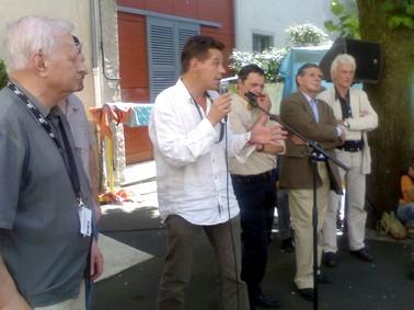 Photo duFestival d'Aurillac 2007, Louis Joinet, Jean Marie Songy, Alain Calmette, Jacques Mézard, Patrick Carpentier.
