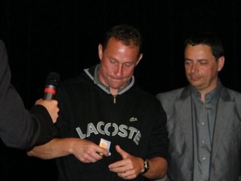 Photo: Jean Pierre Papin et Alain Calmette, maire d'Aurillac