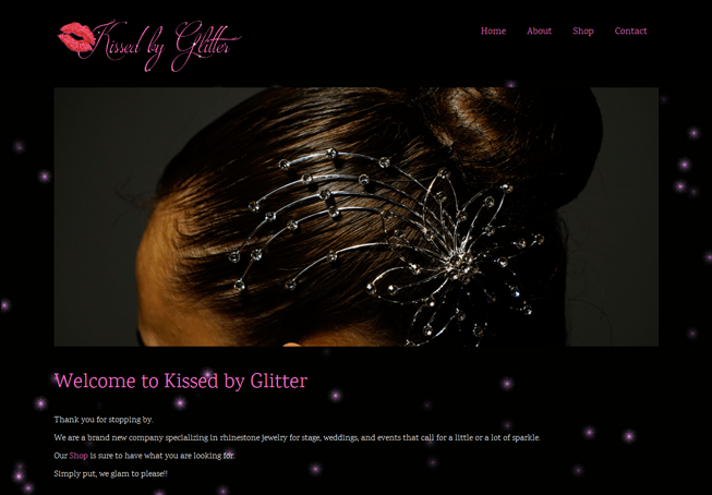Home page image for website of Kissed by Glitter