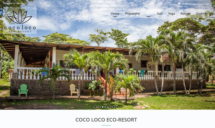 Home page image for website of Coco Loco Eco-Resort