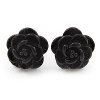 Tiny Black 'Rose' Stud Earrings In Silver Tone Metal ...