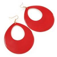 Large Red Enamel Oval Hoop Earrings In Gold Tone - 85mm L ...