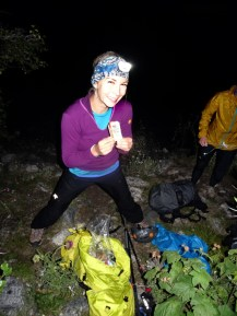 Kelly fuels up with some Honey Stinger gel before the trek to the top of Moran.