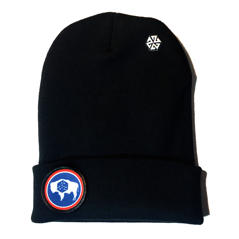 Avalon7 Wyoming bison color patch cuff beanie