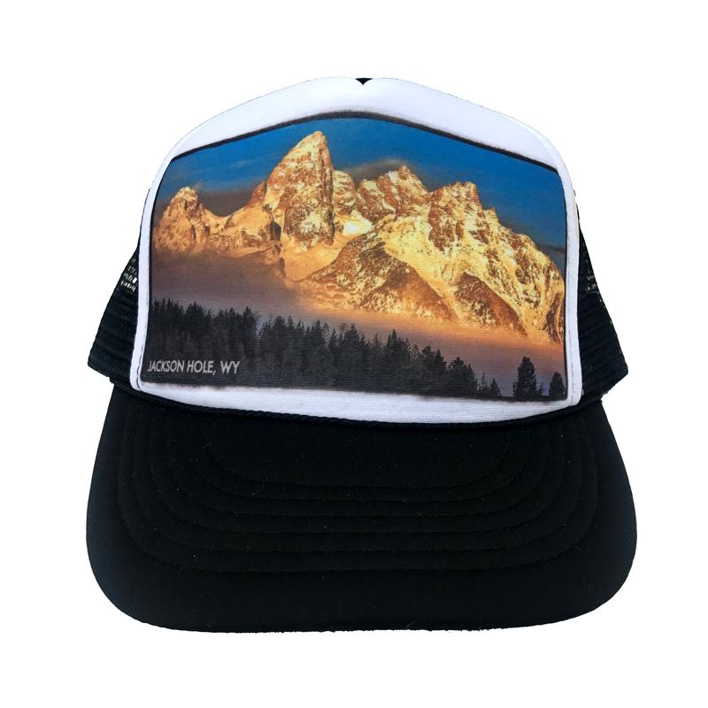 dbadbe5e329f12 AVALON7 frosty trees Tetons trucker hat designed in Jackson Hole, Wyoming