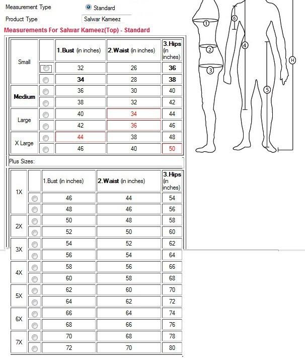 Indian Kameez Size Chart Labzada Blouse