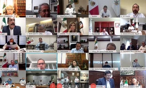 En reunión virtual, de más de tres horas y media, solicitada por el Gobierno de México y en el marco de la coordinación de acciones y trabajos llevados a cabo entre los gobiernos estatales y Federal para la mitigación del Covid-19 y su impacto en la economía nacional y en torno a la estrategia de implementación de regreso a la actividad económica, tomaron diversos acuerdos