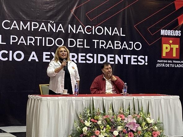 Subrayó que para que los presidentes dejen de ser intocables el pueblo de forma masiva debe pedir que se investiguen, juzguen y promuevan procesos judiciales en su contra; tras agradecer el esfuerzo que están realizando los compañeros petistas en Morelos, encabezados por la diputada Tania Valentina Rodríguez Ruiz