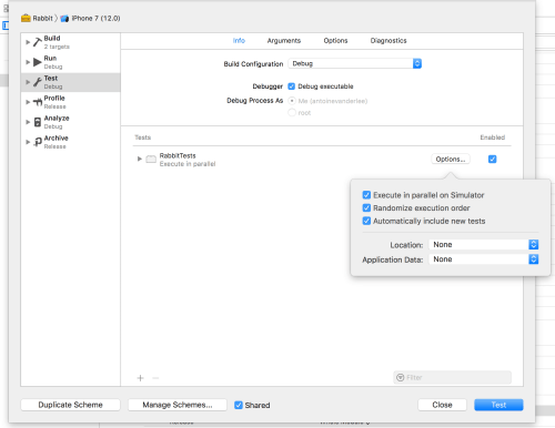 Xcode 10 Testing Options