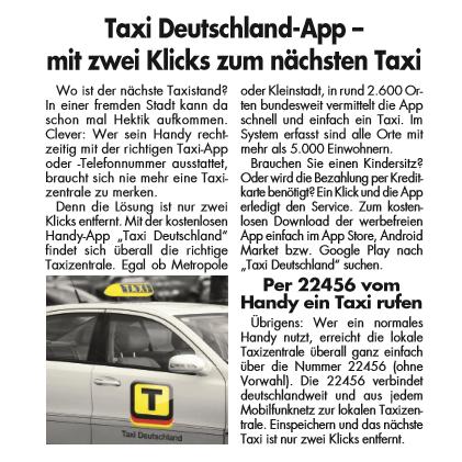 Materndienst für Taxi Deutschland