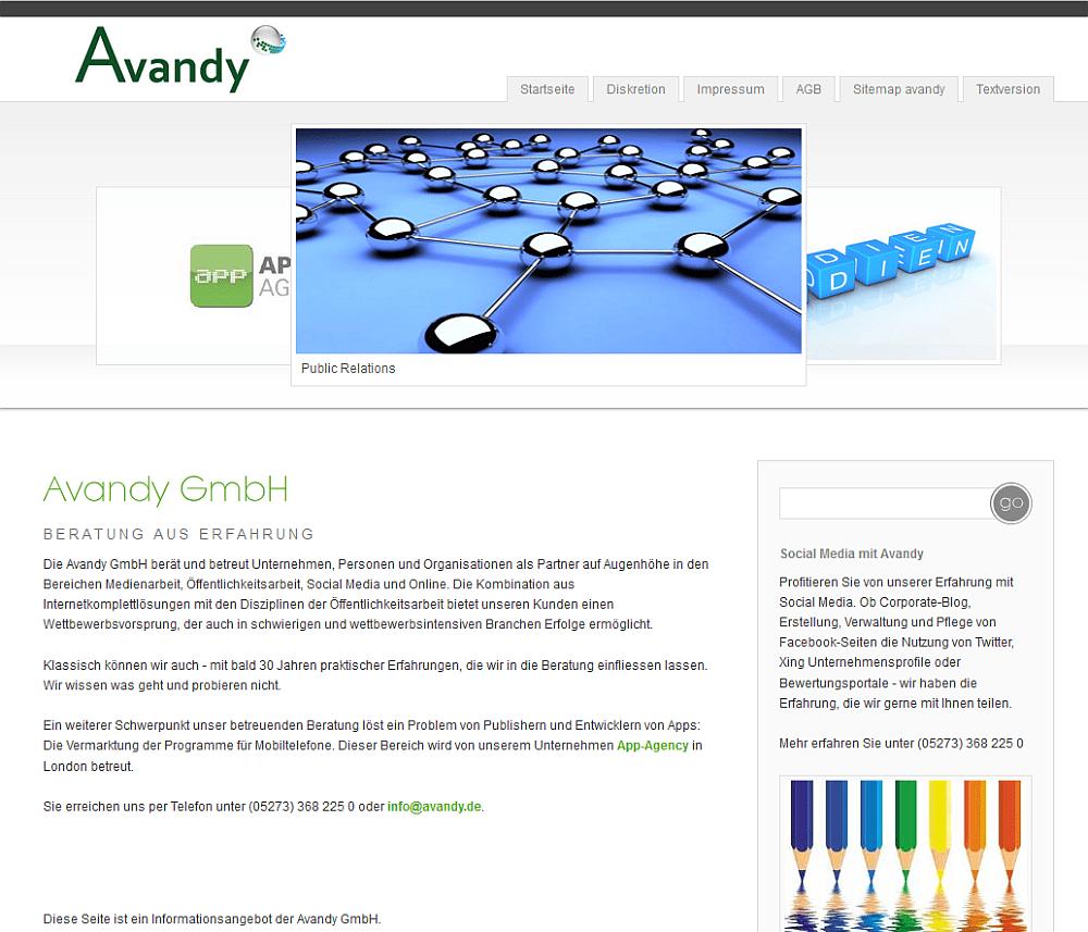 Die jetzt abgelöste Webseite von Avandy hat uns über Jahre treue Dienste geleistet. Nun muss sie einer moderneren Webseite weichen.