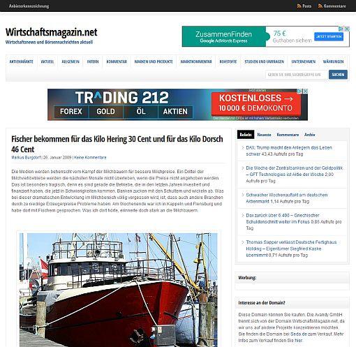 Artikel auf Wirtschaftsmagazin.net über deutsche Fischer