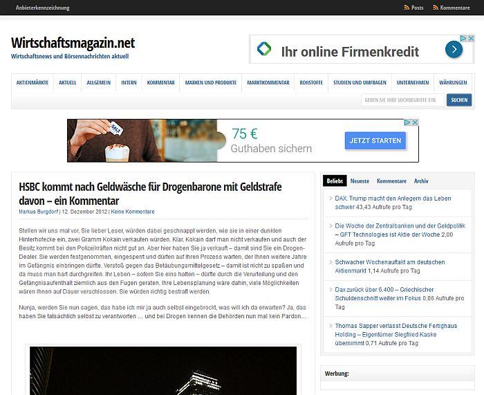 Kommentar auf Wirtschaftsmagazin.net